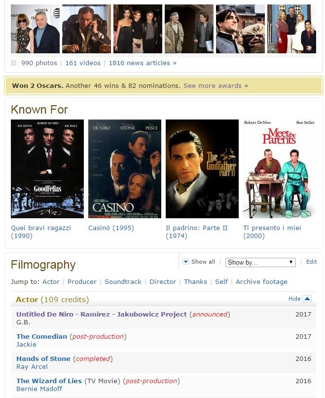 De Niro IMDb