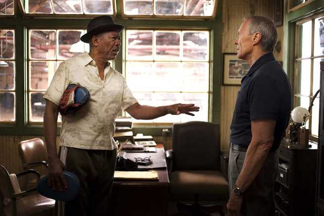 "MORGAN FREEMAN as Scrap and CLINT EASTWOOD as Frankie in Warner Bros. Pictures' drama ""Million Dollar Baby."" The Malpaso production also stars Hilary Swank. PHOTOGRAPHS TO BE USED SOLELY FOR ADVERTISING, PROMOTION, PUBLICITY OR REVIEWS OF THIS SPECIFIC MOTION PICTURE AND TO REMAIN THE PROPERTY OF THE STUDIO. NOT FOR SALE OR REDISTRIBUTION."